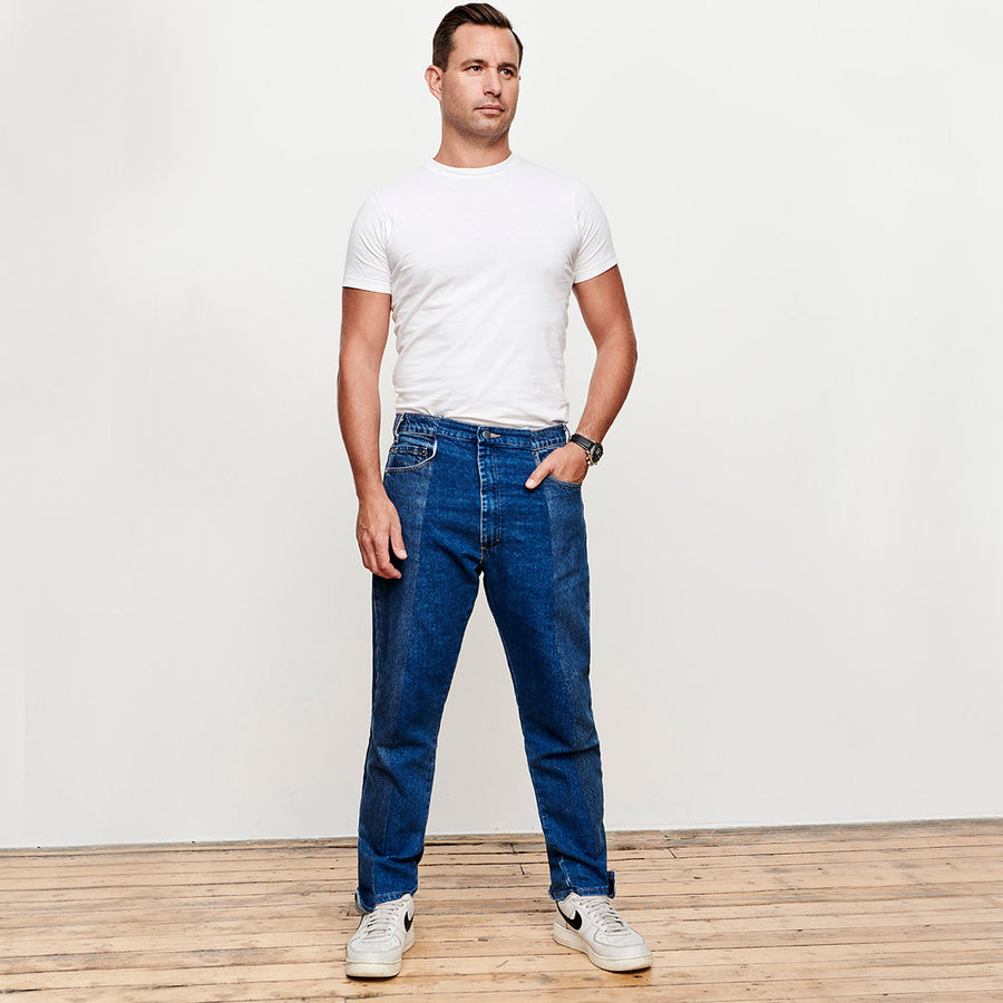 Mens Mid Blue Match Straight Leg Jean