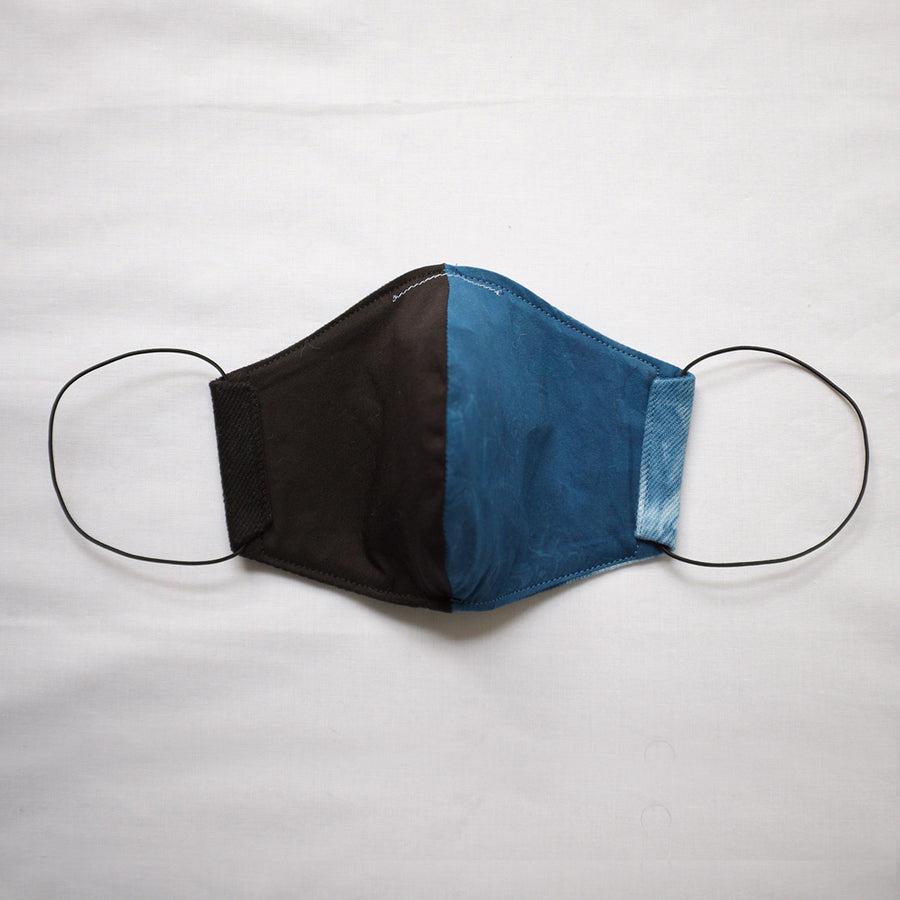 Sustainable Denim Face Mask Black / Blue Flower Print Contrast