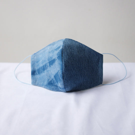 Sustainable Denim Face Mask Blue / Reflection Pattern Contrast