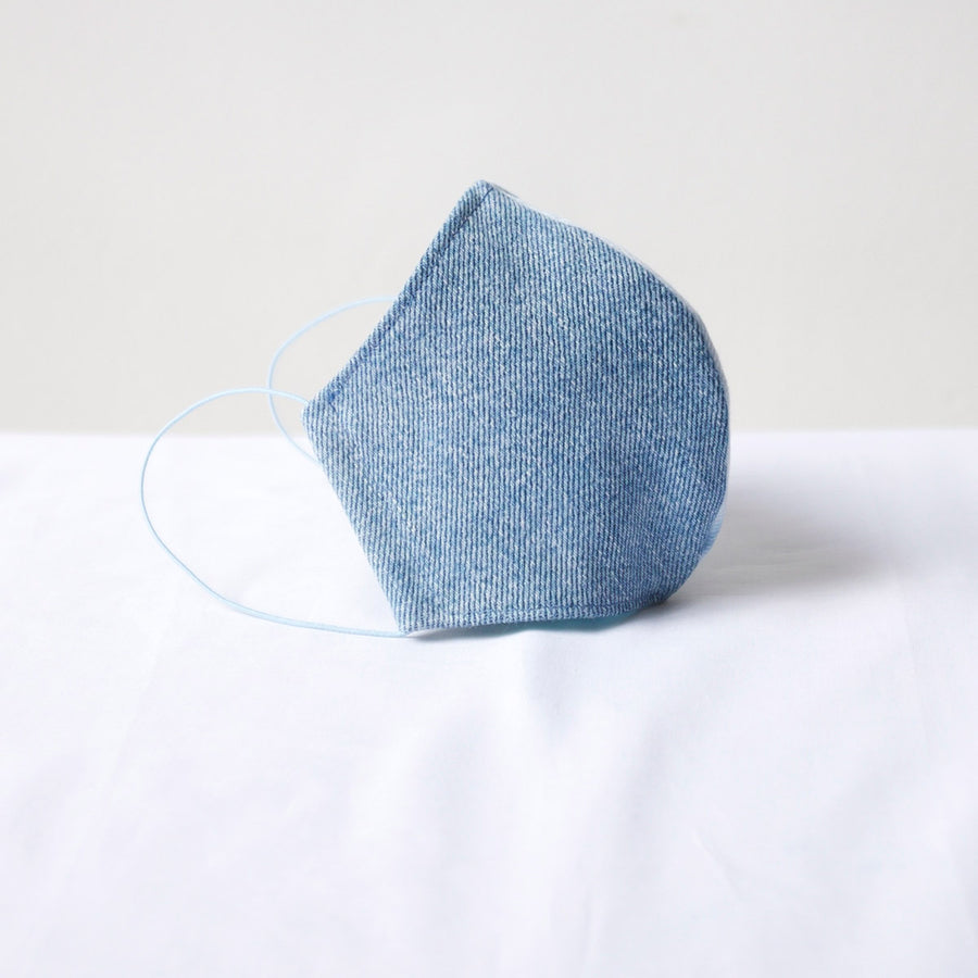 Sustainable Denim Face Mask Blue / White Denim Linear Pattern Contrast