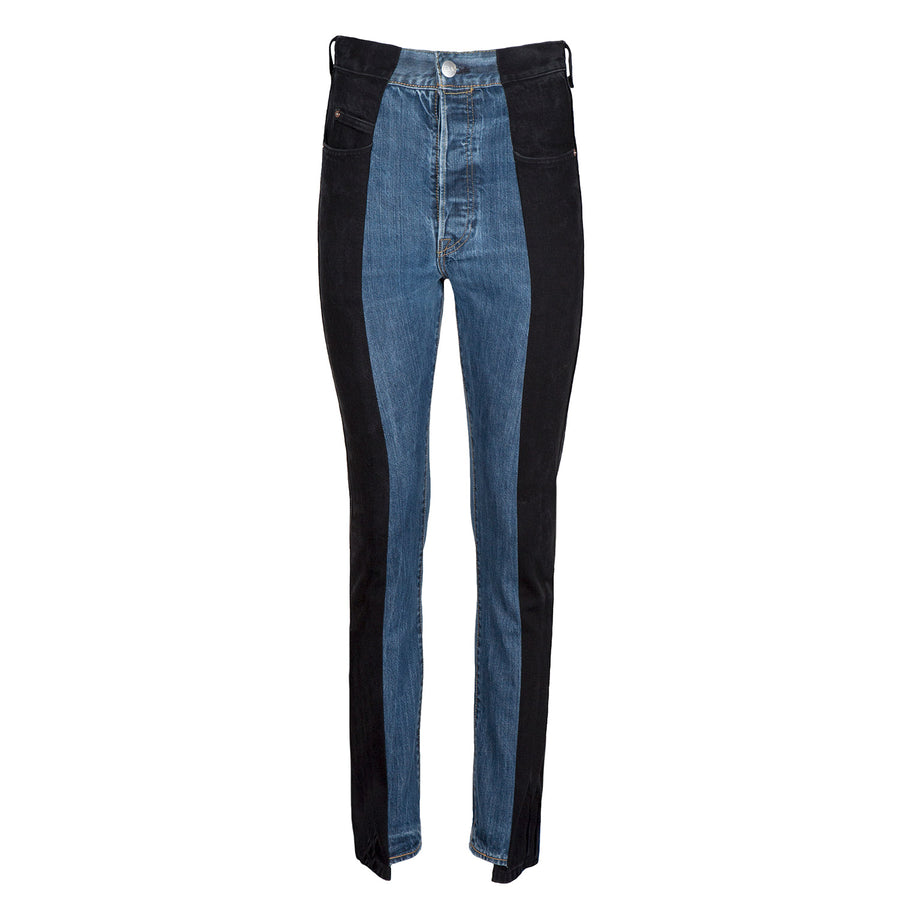Black / Dark Blue Contrast Straight Leg Jean