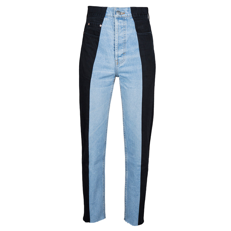 Black / Light Blue Contrast Straight Leg Jean