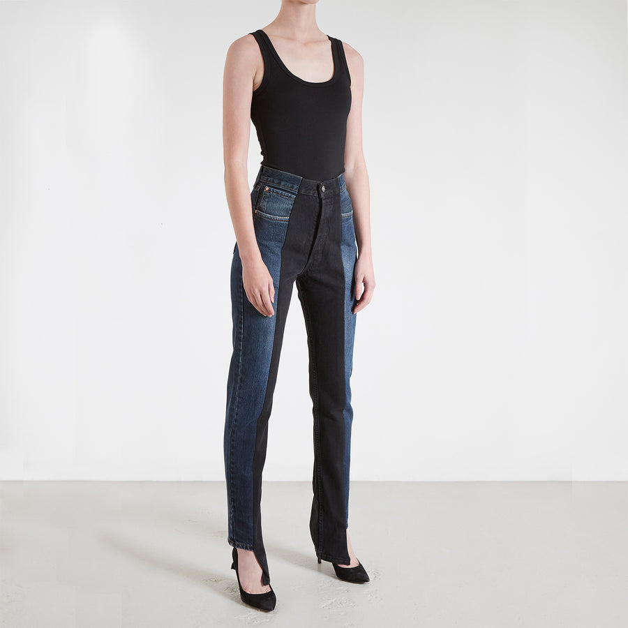 Dark Blue / Black Contrast Straight Leg Jean