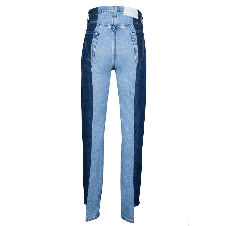 Dark Blue / Light Blue Contrast Straight Leg Jean