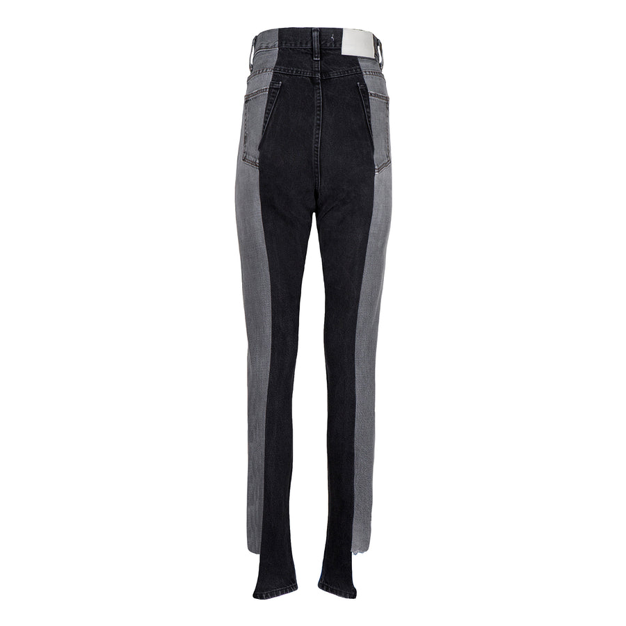 Grey / Black Contrast Straight Leg Jean