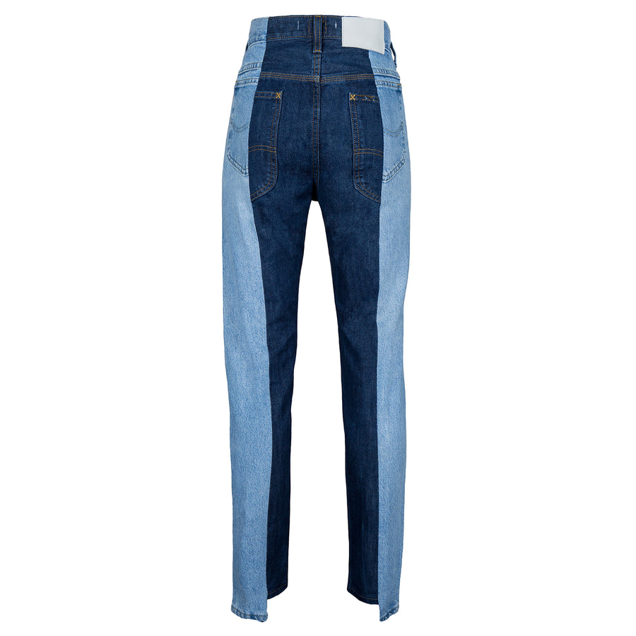 Light Blue / Dark Blue Contrast Straight Leg Jean