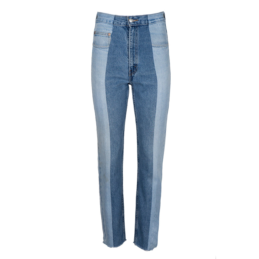 Light Blue / Mid Blue Contrast Straight Leg Jean