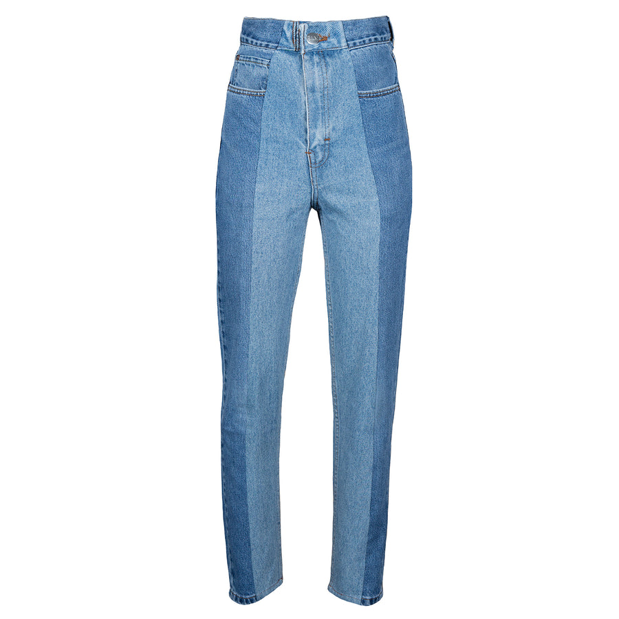 Mid Blue / Light Blue Contrast Straight Leg Jean