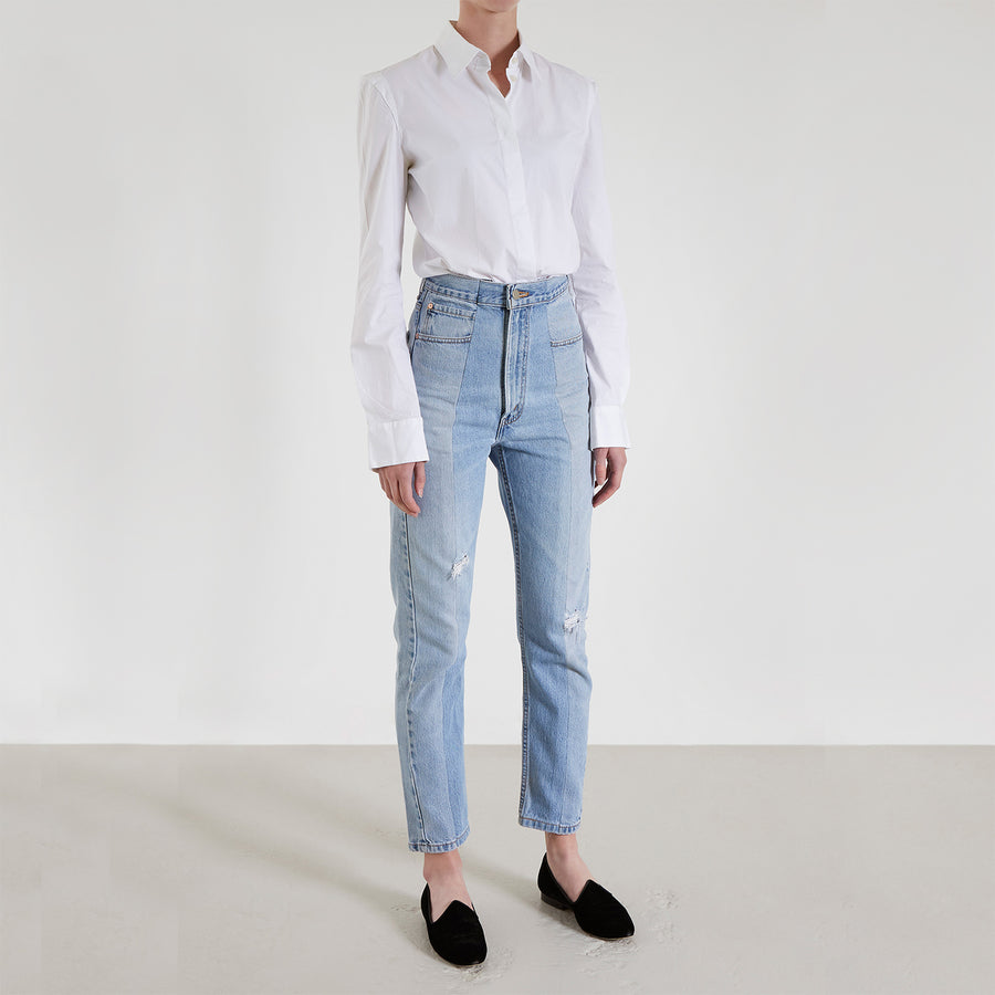 Unique Light Blue Match Straight Leg Jean With Rips