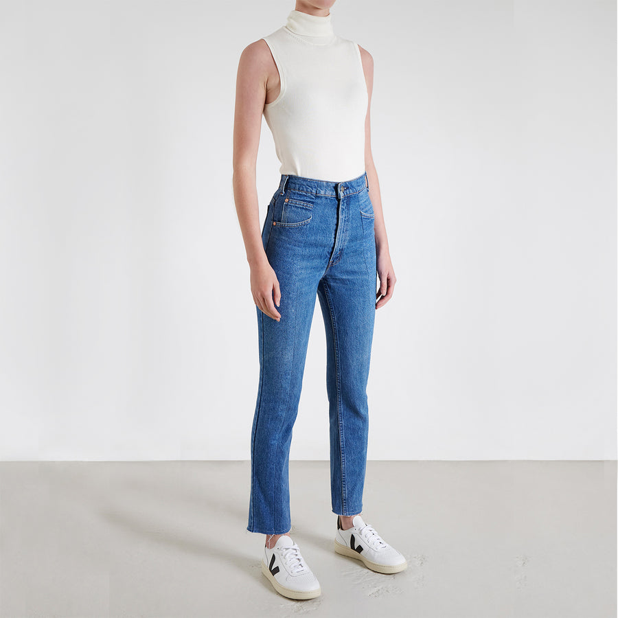 Mid Blue Match Straight Leg Jean