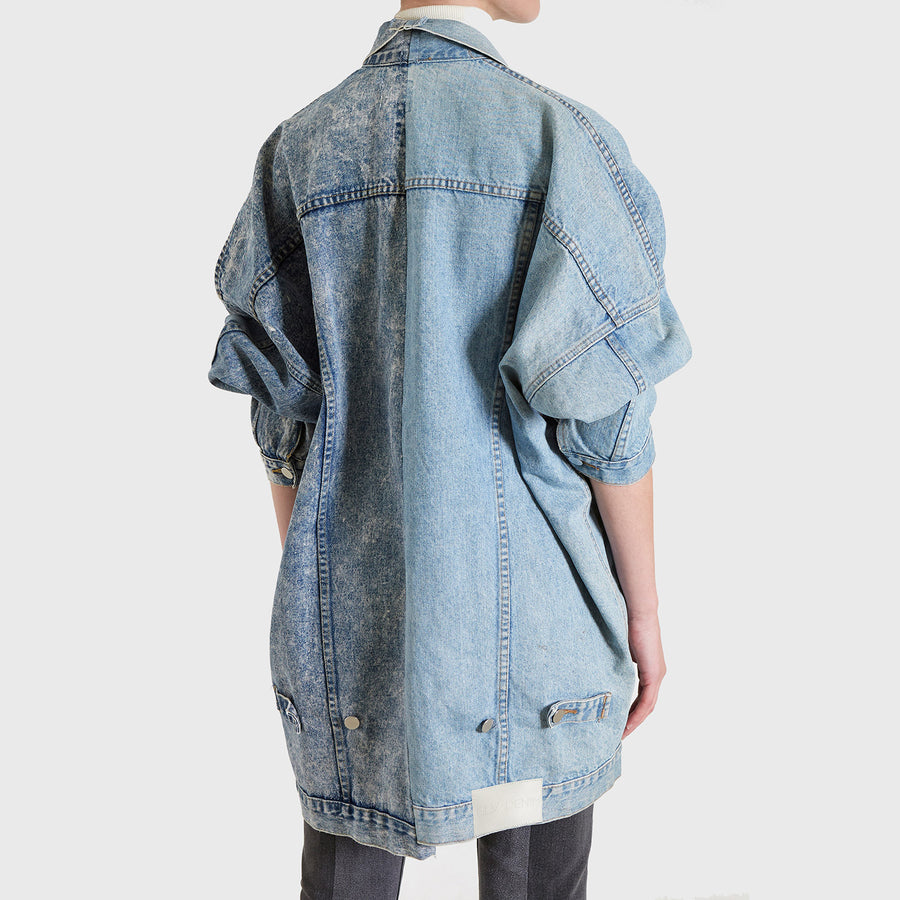 Oversized Stone Wash Contrast Jacket