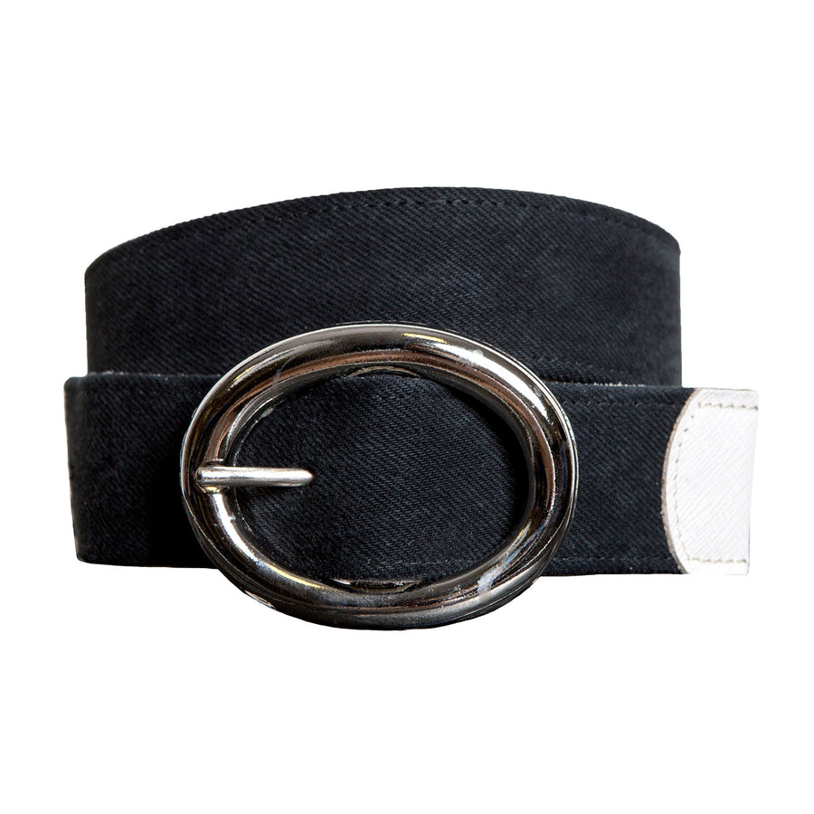 Black Denim Belt with Silver Buckle