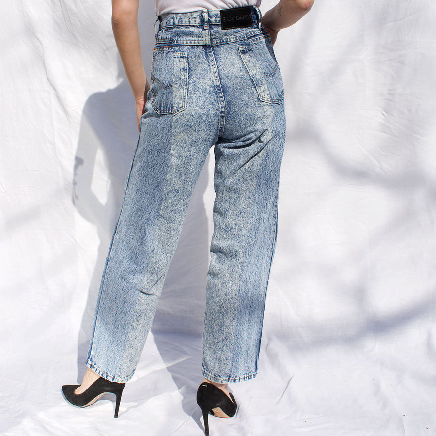 Blue Match Acid Wash Boyfriend Jean