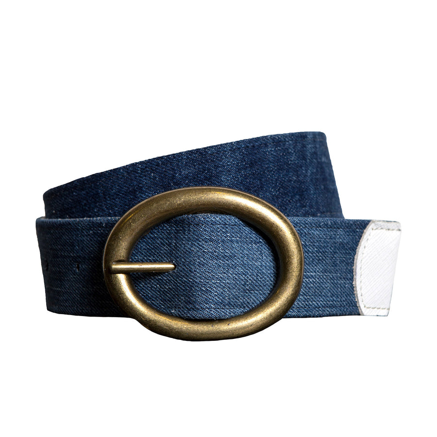 Mid Blue Denim Belt with Gold Buckle