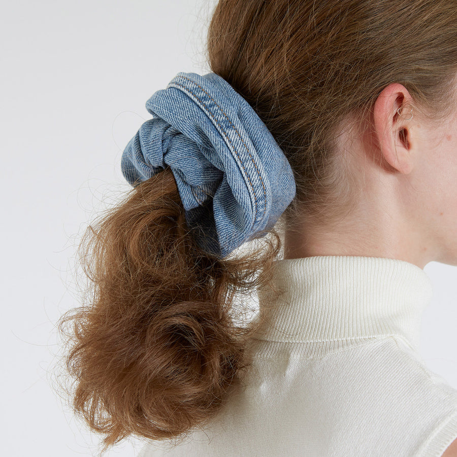 Light Blue Denim Hair Scrunchie