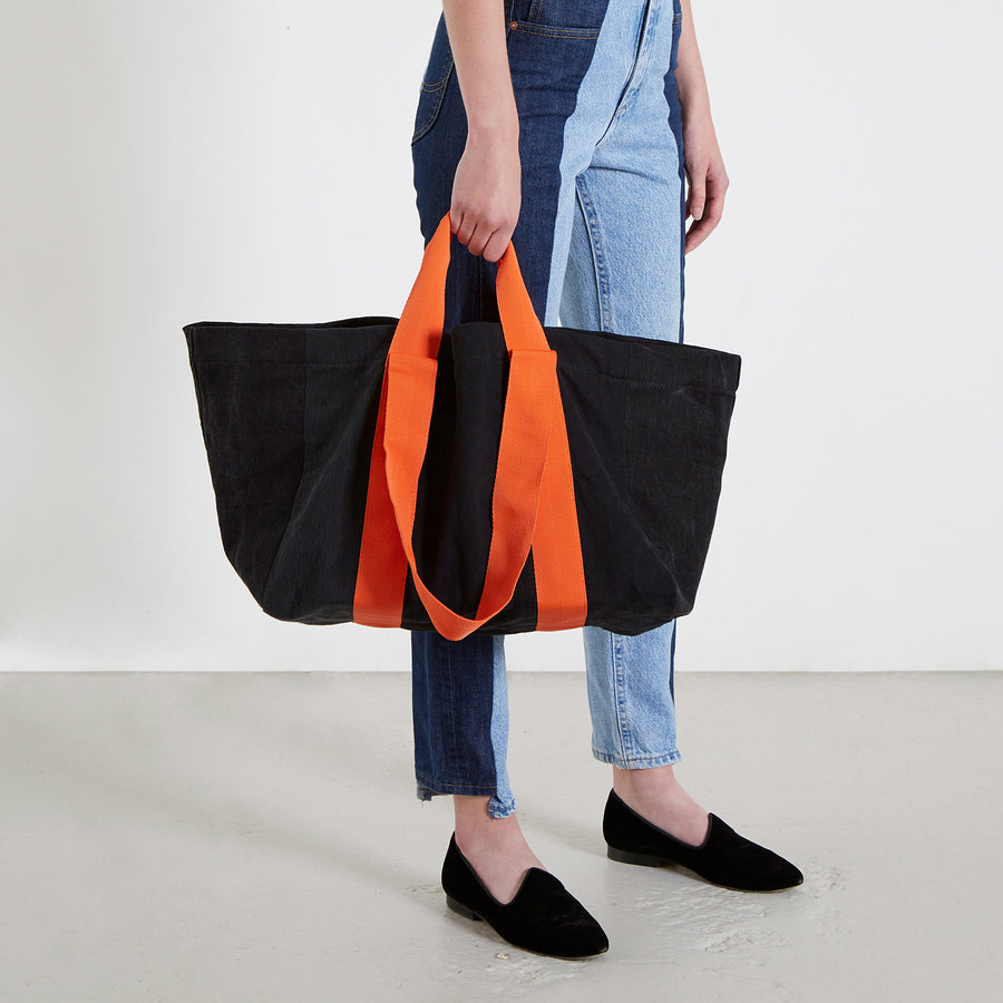 Reusable Black Match Denim Bag
