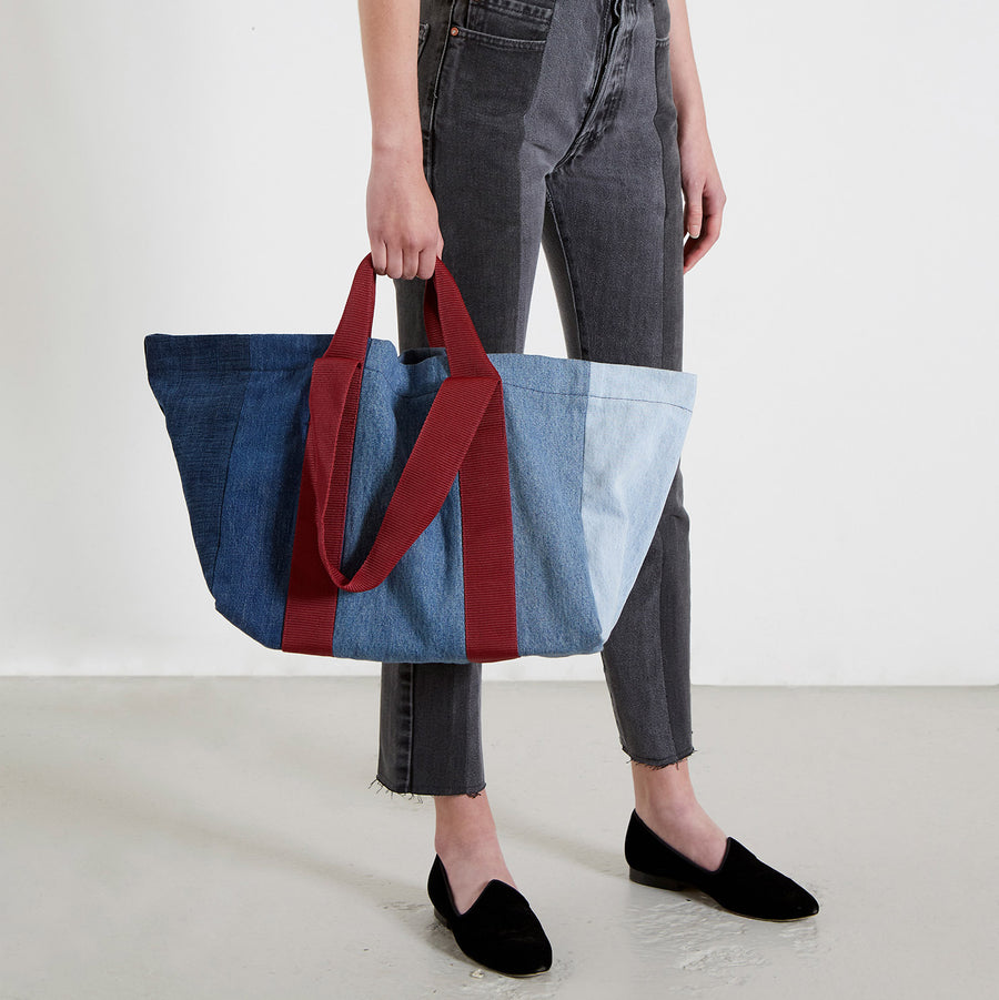Reusable Multi Contrast Denim Bag