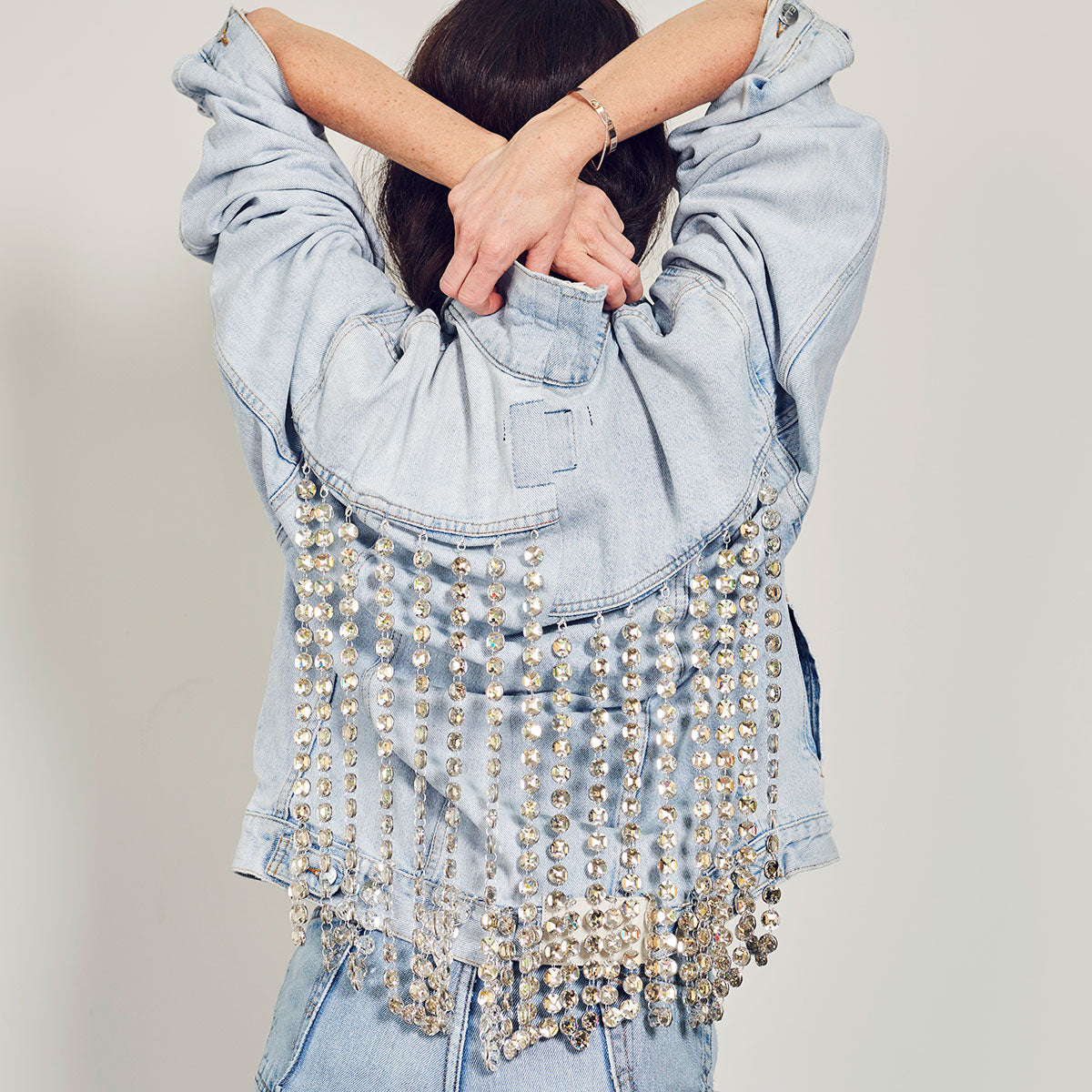 Upcycled Swarovski Double Crystal Silvershade Fringe Jacket