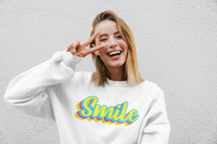 sweat-shirt-bio-vintage-smile-jaune-blanc-bleu-eco-responsable-mode