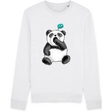 Charger l'image dans la galerie, sweat-shirt-bio-panda-manga-kawaii-gots-durable-ethique-blanc