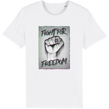 Charger l'image dans la galerie, tee-shirt-bio-art-street-coton-couleur-eco-responsable-ethique-fight-for-freedom-blanc