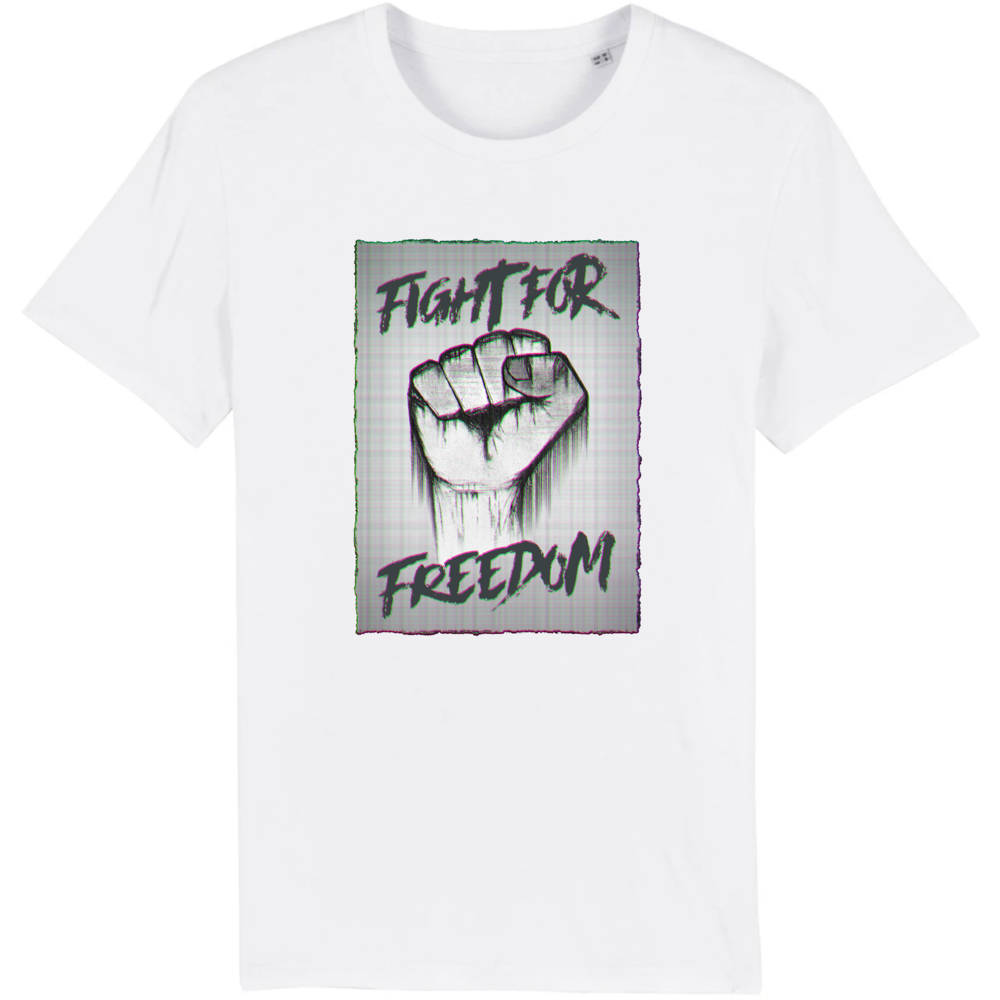 tee-shirt-bio-art-street-coton-couleur-eco-responsable-ethique-fight-for-freedom-blanc