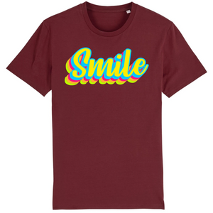 Tee-shirt bio smile unisexe bordeaux