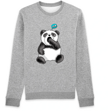 Charger l'image dans la galerie, sweat-shirt-bio-panda-manga-kawaii-gots-durable-ethique--gris