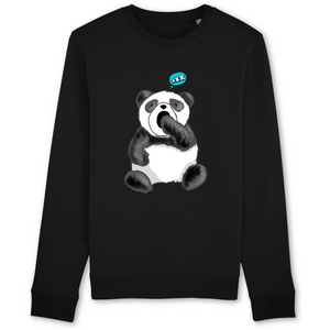 sweat-shirt-bio-panda-manga-kawaii-gots-durable-ethique--noir
