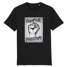 Charger l'image dans la galerie, tee-shirt-bio-art-street-coton-couleur-eco-responsable-ethique-fight-for-freedom-noir