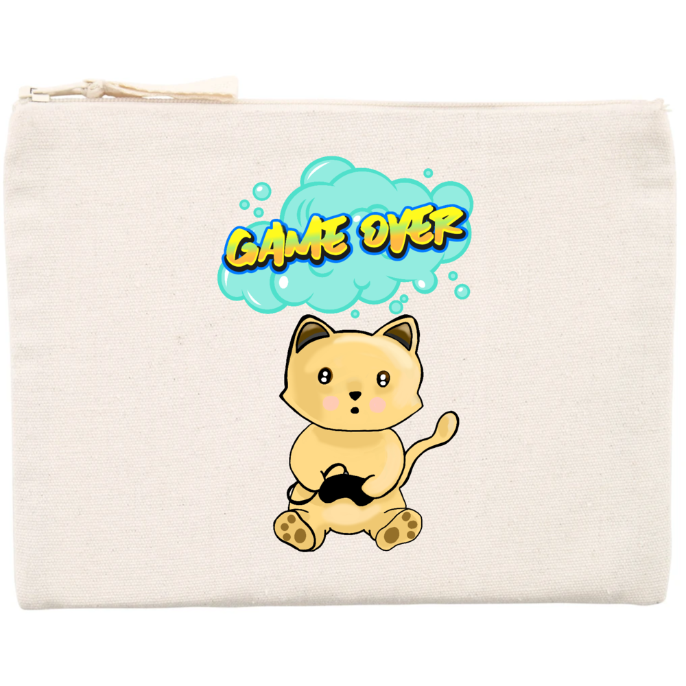 Trousse coton chat manga game over