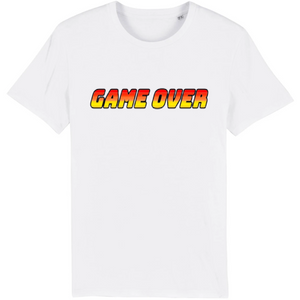 T-shirt homme coton bio game over blanc