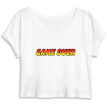 Charger l'image dans la galerie, T-shirt femme crop top coton bio game over blanc