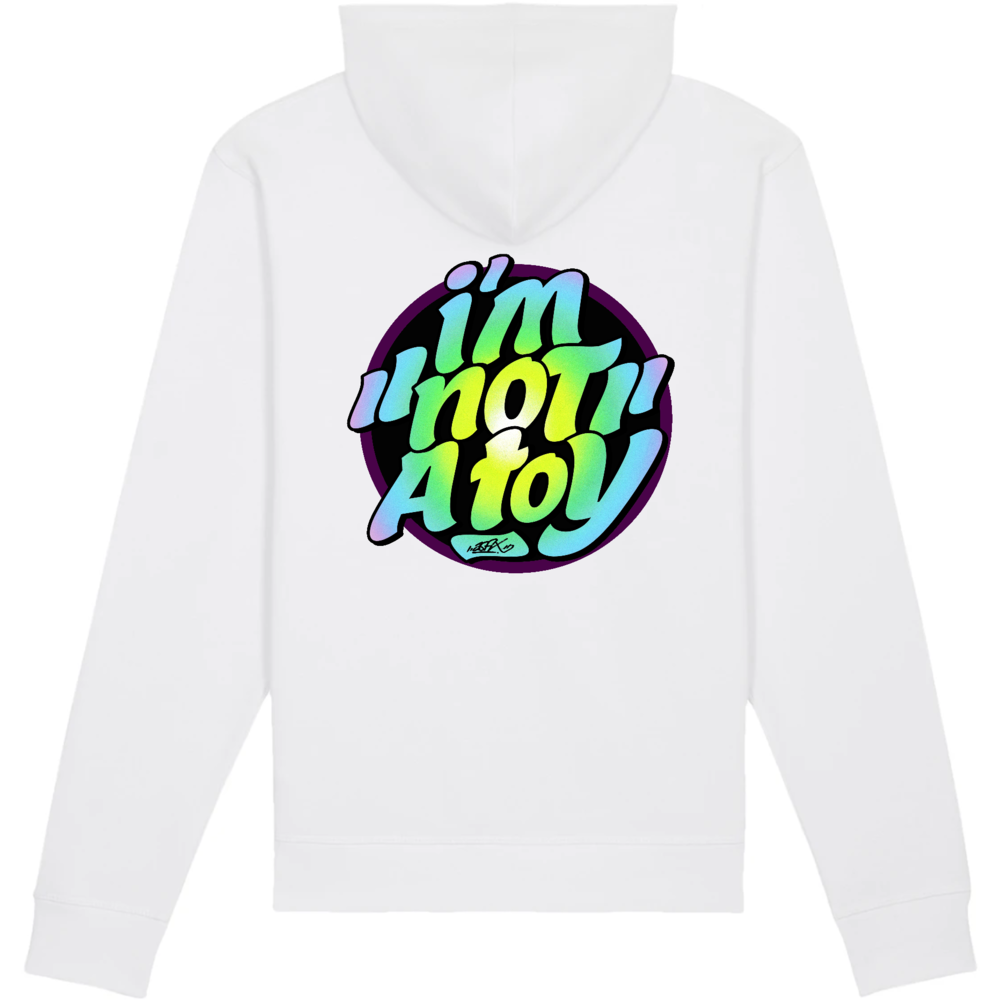 sweatshirt original capuche bio ethique I'm not a toy blanc