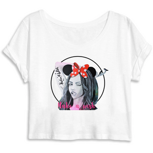 T-shirt femme original crop top make a wish blanc