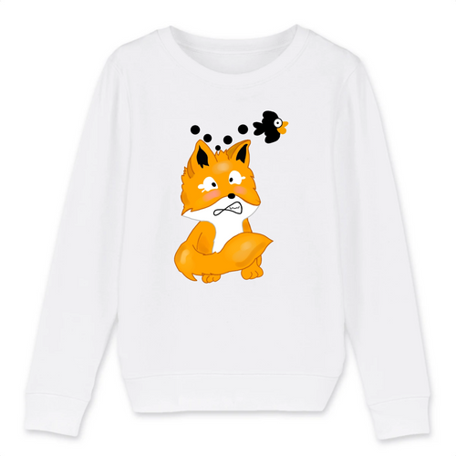 Sweat enfant bio renard manga kawaii blanc