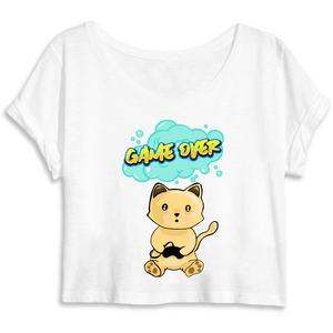 T-shirt femme crop top original chat manga game over blanc