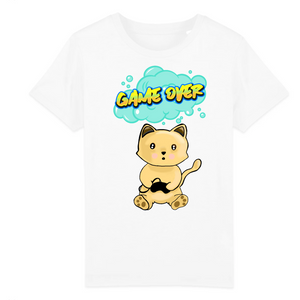 T-shirt enfant original chat manga game over blanc