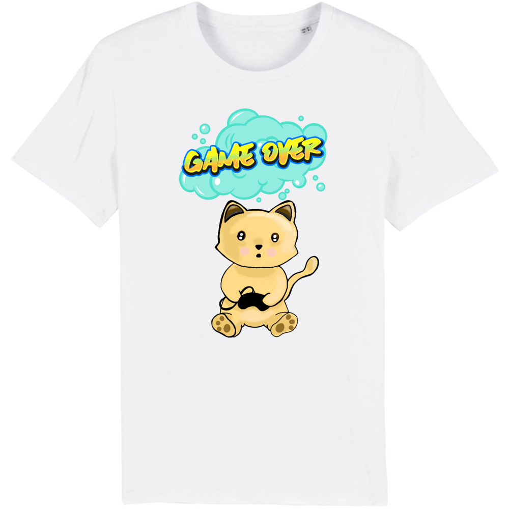 T-shirt homme original chat manga game over blanc
