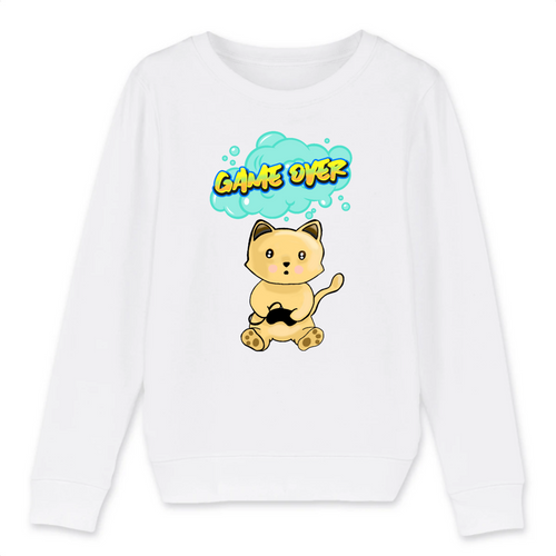 Sweat enfant chat manga game over blanc