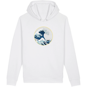 Sweatshirt bio homme surf la vague blanc
