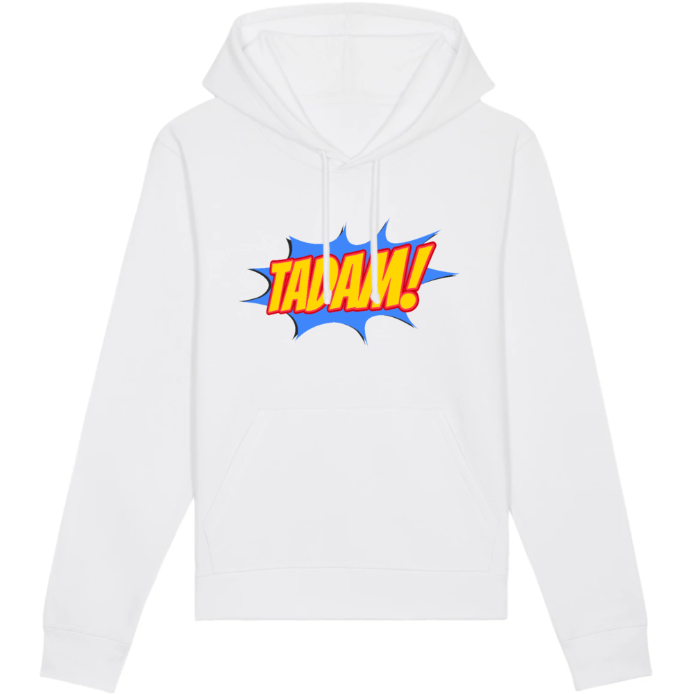 Sweat-shirt bio comics capuche homme eco reponsable blanc