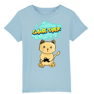 T-shirt enfant original chat manga game over bleu