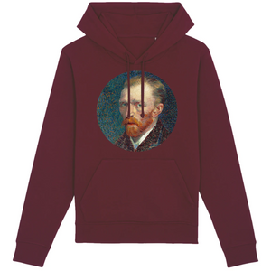 Sweat homme à capuche original van gogh bio bordeaux