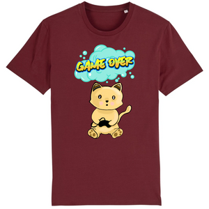 T-shirt homme original chat manga game over bordeaux