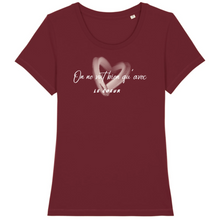 Charger l'image dans la galerie, tee-shirt-bio-message-coton-citation-femme-bordeaux
