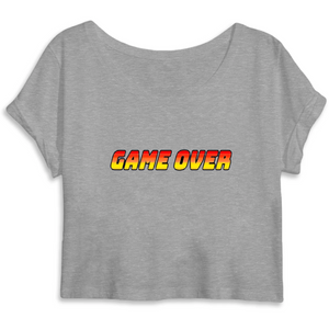 T-shirt femme crop top coton bio game over gris