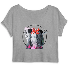 Charger l'image dans la galerie, T-shirt femme original crop top make a wish gris