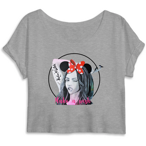 T-shirt femme original crop top make a wish gris