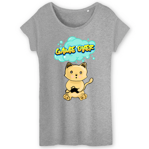 T-shirt femme original chat manga game over gris